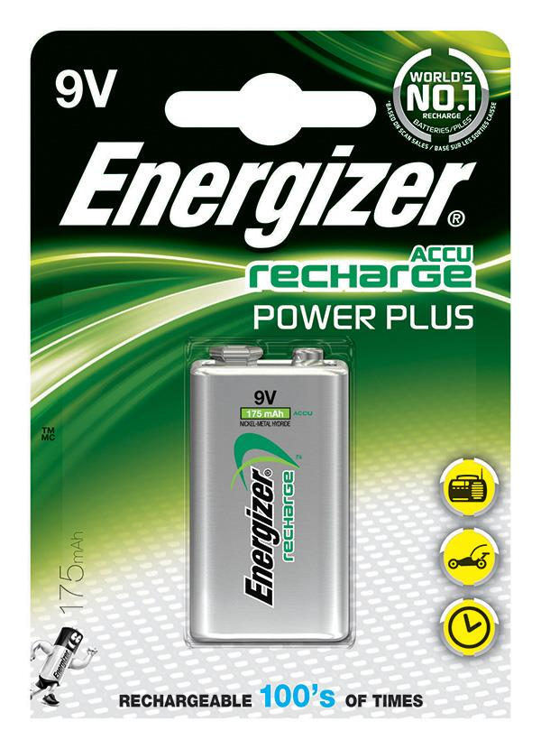 Nabíjecí baterie, ENERGIZER Power Plus, E, HR22, 9V, 175mAh
