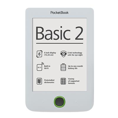 PocketBook 614 Basic2 White ebook reader, 6´´ E-ink 800x600 LCD, WLAN b/g/n, 4GB/SD+100 knih zdarma