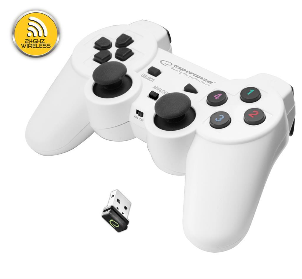 Esperanza EGG108W GLADIATOR bezdrátový gamepad s vibracemi pro PC/PS3, bílý