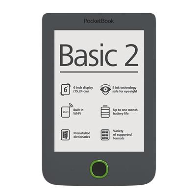 PocketBook 614 Basic2 Grey ebook reader, 6´´ E-ink 800x600 LCD, WLAN b/g/n, 4GB/SD