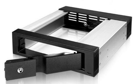 Interní box IB-158SK-B 5.25'' pro 3.5'' SATA HDD, vent., hliník, č.