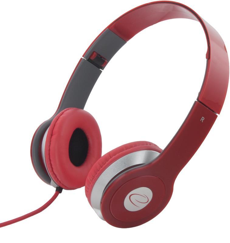 Esperanza EH145R TECHNO Stereo sluchátka, skládací, ovl. hlasitosti, 3m, červená