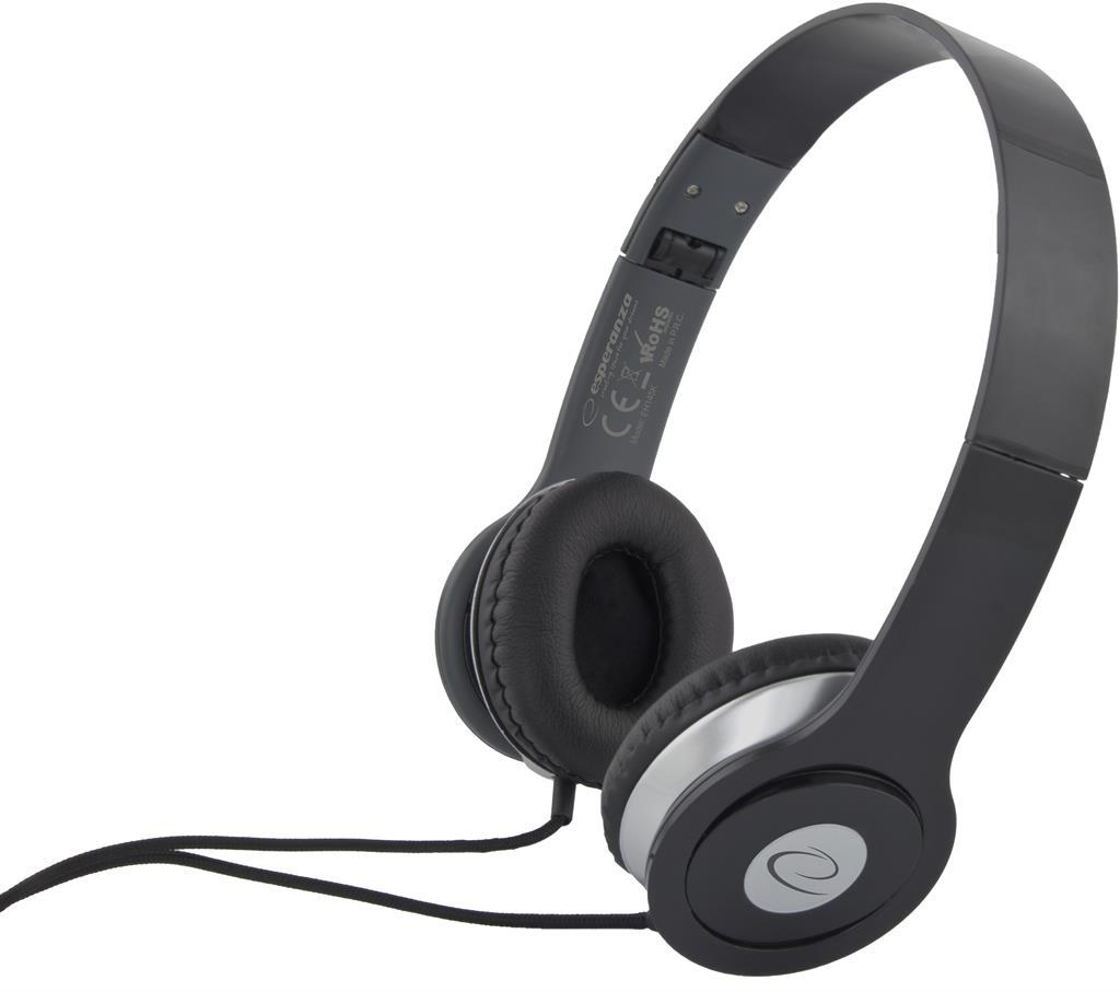 Esperanza EH145K TECHNO Stereo sluchátka, skládací, ovl. hlasitosti, 3m, černá