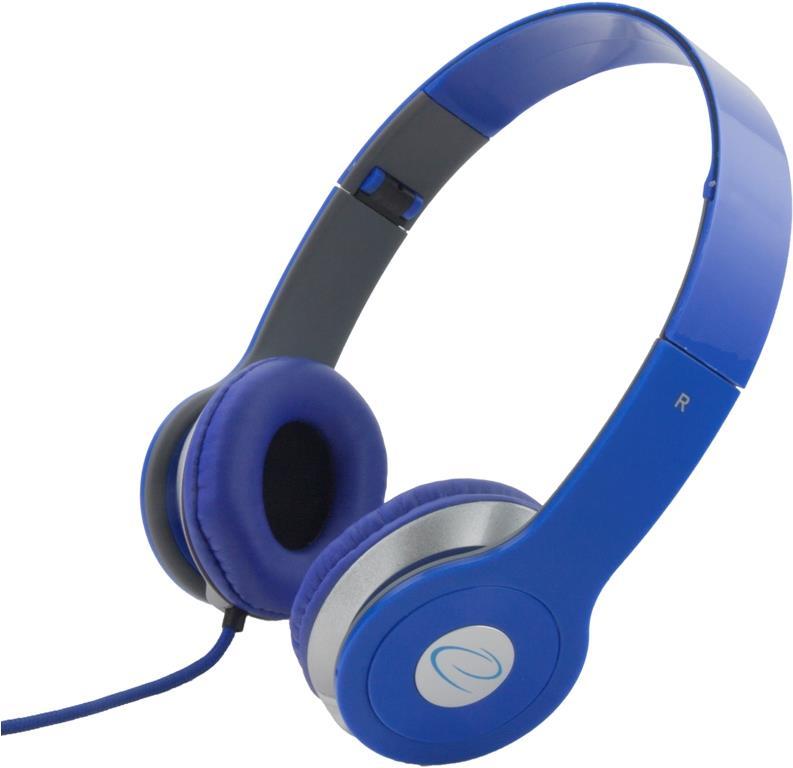 Esperanza EH145B TECHNO Stereo sluchátka, skládací, ovl. hlasitosti, 3m, modrá
