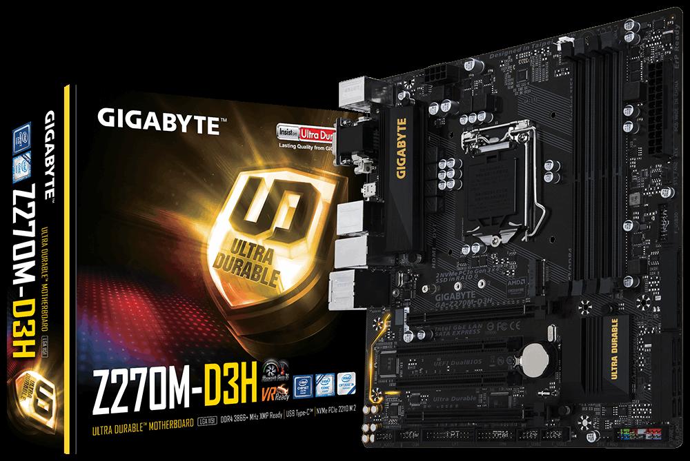 Gigabyte GA-Z270M-D3H, Z270, DDR4, M.2, HDMI, DVI-D, RGB