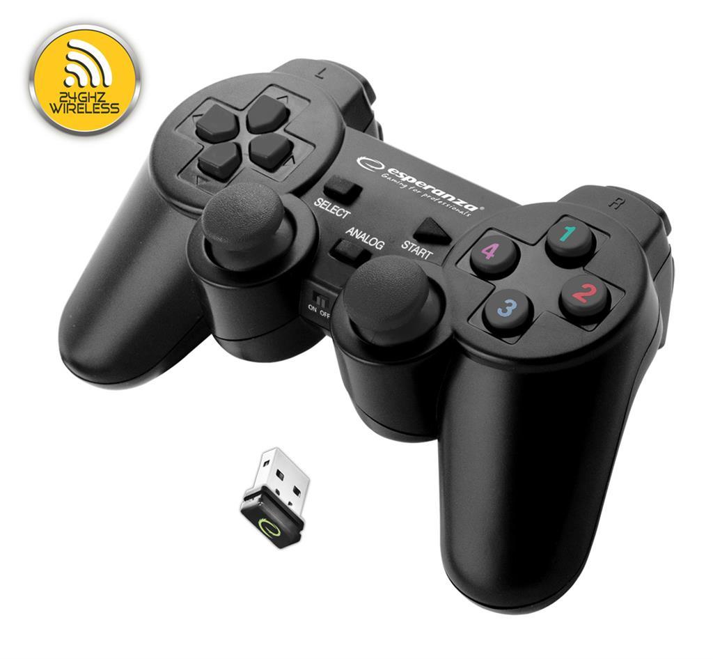 Esperanza EGG108K GLADIATOR bezdrátový gamepad s vibracemi pro PC/PS3, černý