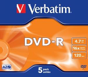 Verbatim DVD-R [ jewel case 5 | 4.7GB | 16x | matte silver ]