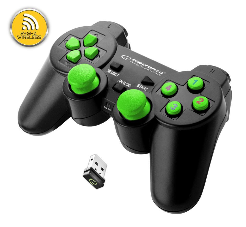 Esperanza EGG108G GLADIATOR bezdrátový gamepad s vibracemi pro PC/PS3, zelený