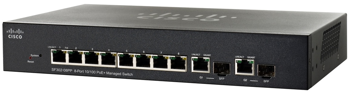Cisco SF302-08PP, 8x10/100 PoE+ + 2x SFP Switch