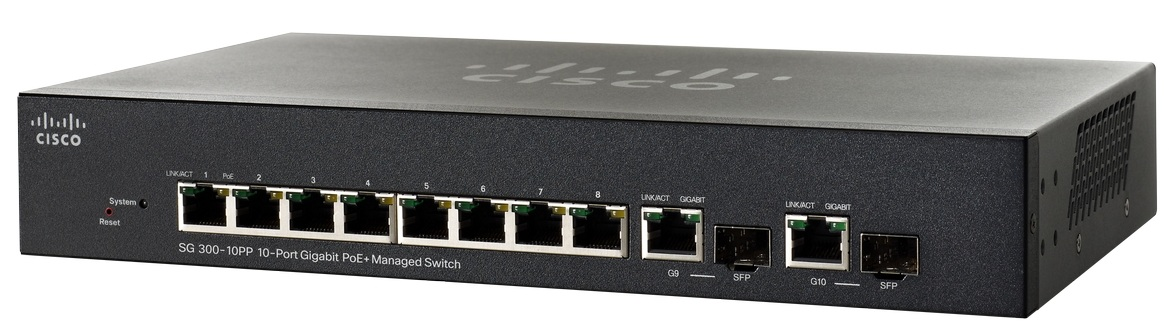 Cisco SG300-10PP 10-port Gigabit PoE+ Managed Switch, PoE 62W/8 ports