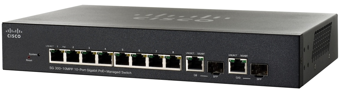 Cisco SG300-10MPP, 8x Gigabit MPoE+ + 2xSFP Switch