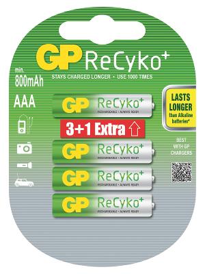GP AAA 800 Recyko+ Ni-MH - 4 ks (3 + 1)