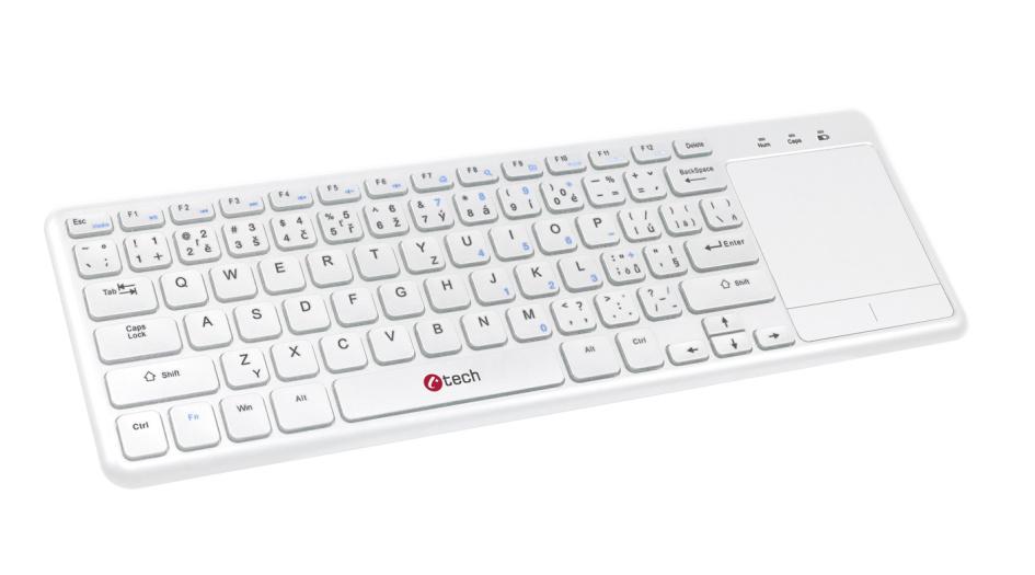 C-TECH klávesnice WLTK-01, bezdrátová klávesnice s touchpadem, bílá, USB,CZ/SK