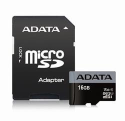 ADATA paměťová karta 16GB Premier Pro micro SDHC UHS-I U3 V30S (čtení/zápis: 95/30MB/s) + SD adaptér