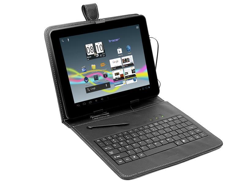 Tracer Plastic pouzdro pro tablet 7'' s klávesnicí, micro USB, eko kůže, černé