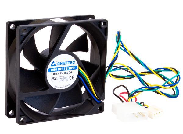 Chieftec AF-0825PWM ventilátor do PC skříně - 80x80x25mm - 4 pin PWM/Molex