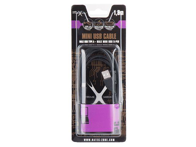 Natec kabel mini USB 2.0 AM/BM5P (CANON) feritový 1.8m, černý, blister