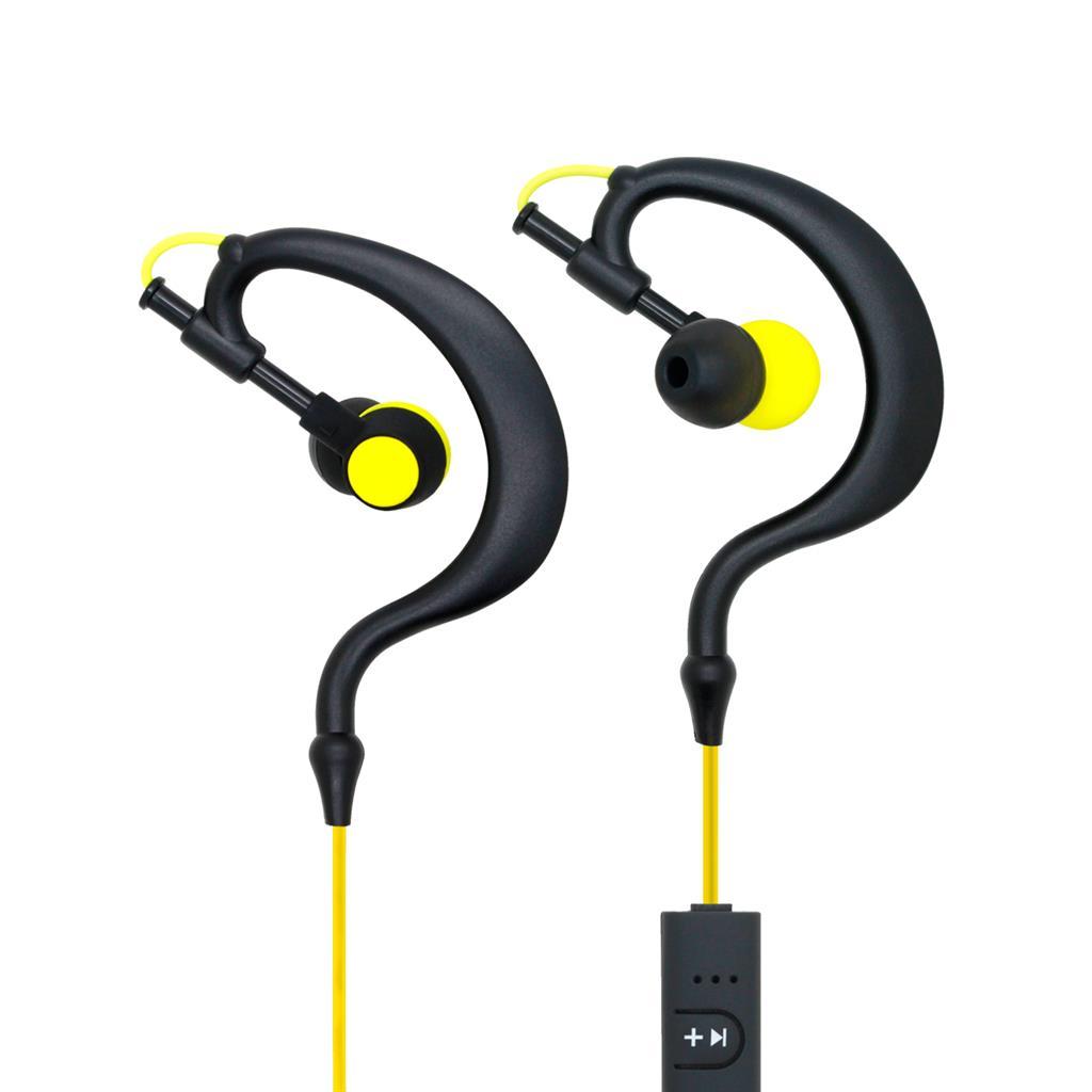 ART AP-B23 Bluetooth sluchátka s mikrofonem, černo-žluté, sport (EARHOOK)