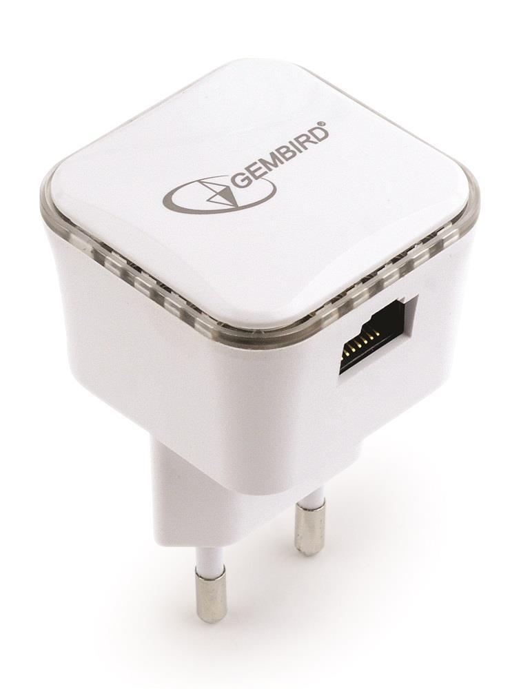 Gembird WiFi repeater se zabudovanými anténami, 300 Mbps + LAN, bílý