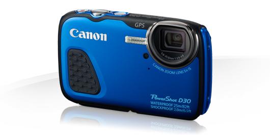 Canon PowerShot D30 kompakt 12.1 MPix, 5x zoom, outdoor - modrý