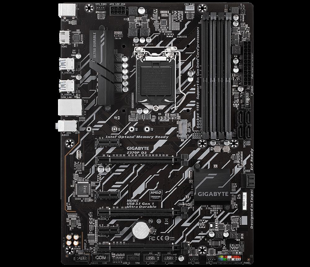 GIGABYTE MB Sc LGA1151 Z370P D3, Intel Z370, 4xDDR4, VGA