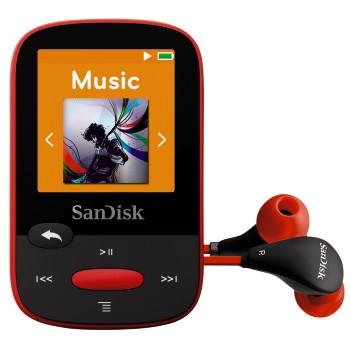SanDisk Clip Sports 4 GB, FM rádio, MP3, WMA, microSDHC, červená