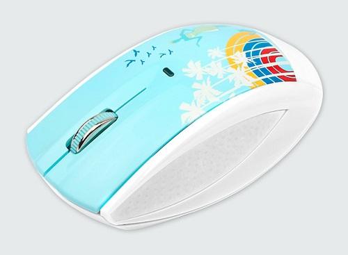 Modecom optická bezdrátová myš MC-619 ART Palms, USB, bílá