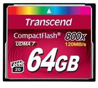Transcend Compact Flash karta 64GB 800x, čtení až 120MB/s; zápis až 60MB/s