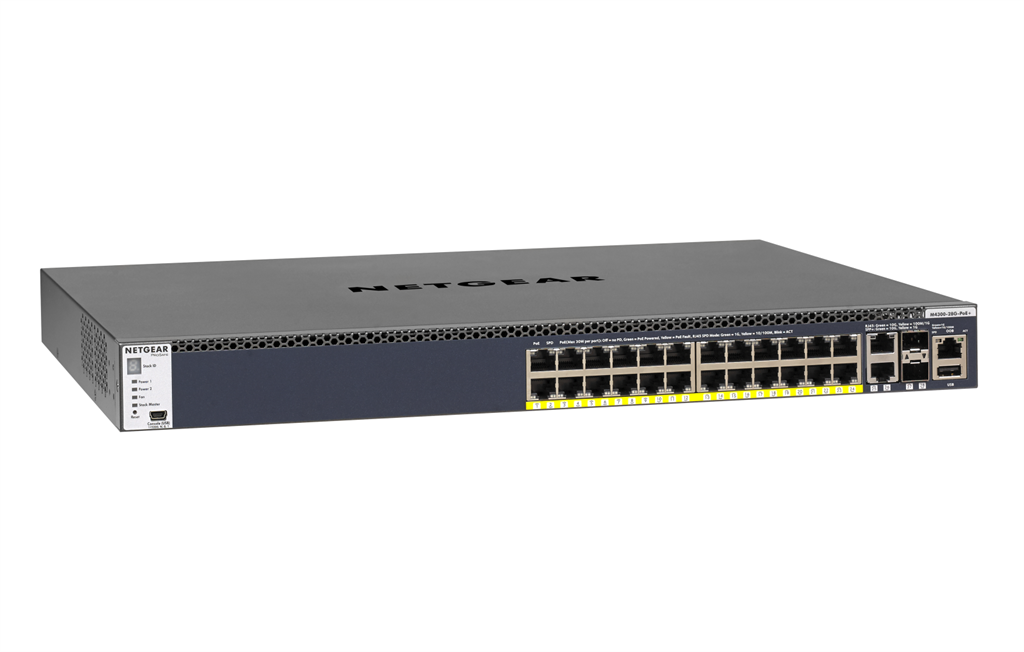 Netgear M4300-28G-POE+ MANAGED SWITCH 24x1G PoE+ APS550W (GSM4328PA)
