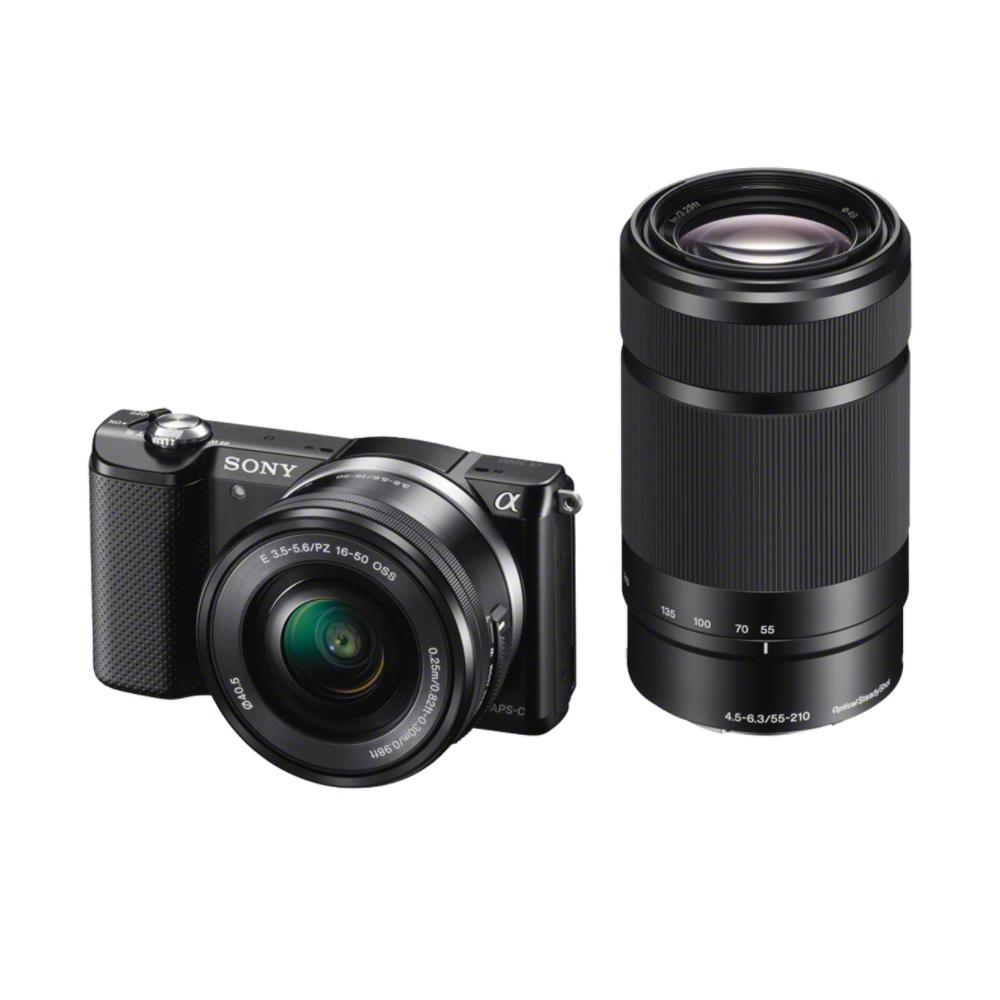 SONY ILCE-5000 Fotoaparát Alfa 5000 s bajonetem E + 16-50mm a 55-210mm objektiv - Black