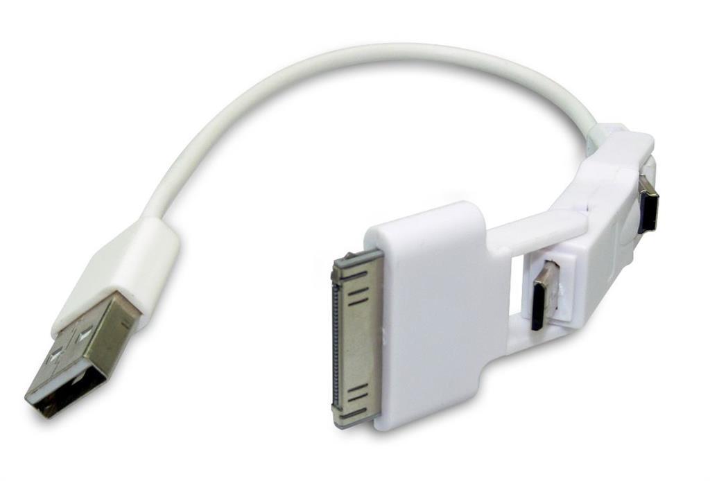 Sandberg USB synchronizační a napájecí kabel, 3v1, iPad/iPhone/iPod, 1m, bílý