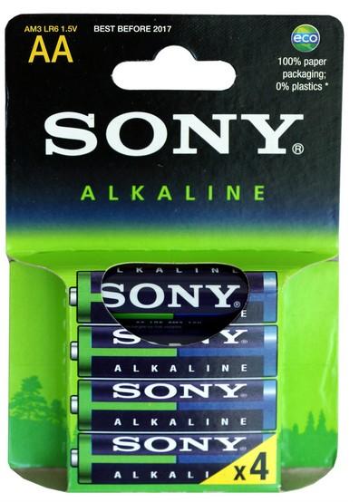 SONY Alkalické baterie AM3LB4D, 4ks LR6/AA Eco Blue