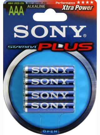 SONY Alkalické baterie AM4B4D, 4 ks LR03/AAA, Stamina Plus