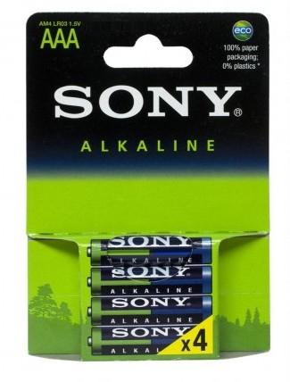 SONY Alkalické baterie AM4LB4D, 4ks LR3/AAA Eco Blue
