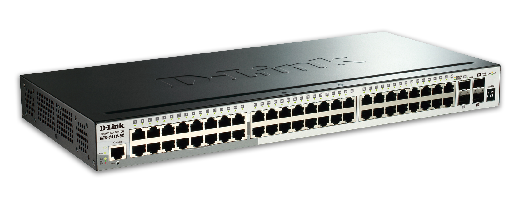 D-Link DGS-1510-52 52-Port Gigabit Stackable Smart Managed Switch including 2 10G SFP+ and 2 SFP ports (smart fans)