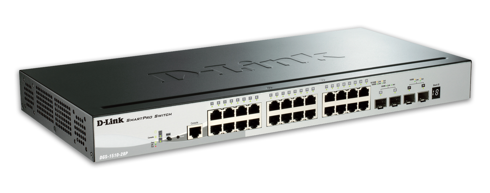 D-Link DGS-1510-28P 28-Port Gigabit Stackable SmartPro PoE Switch including 2 SFP ports and 2 x 10G SFP+ ports- 24 x 1
