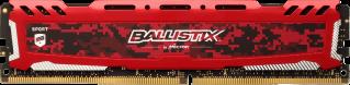 Crucial Ballistix Sport LT, 16GB, DDR4 2666MHz, UDIMM, Red
