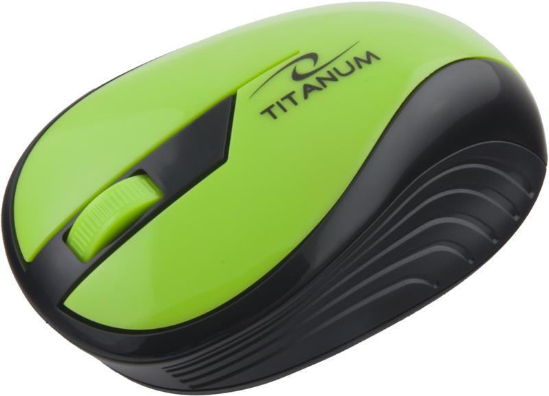 Titanum TM114G RAINBOW bezdrátová optická myš, 1000 DPI, 2.4GHz, 3D, zelená