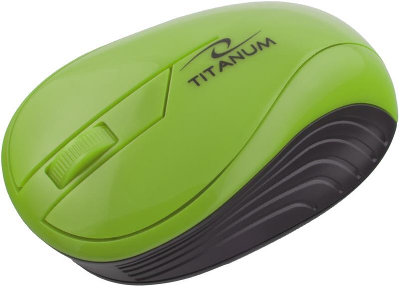 Titanum TM115G NEON bezdrátová optická myš, 1000 DPI, 2.4GHz, 3D, zelená