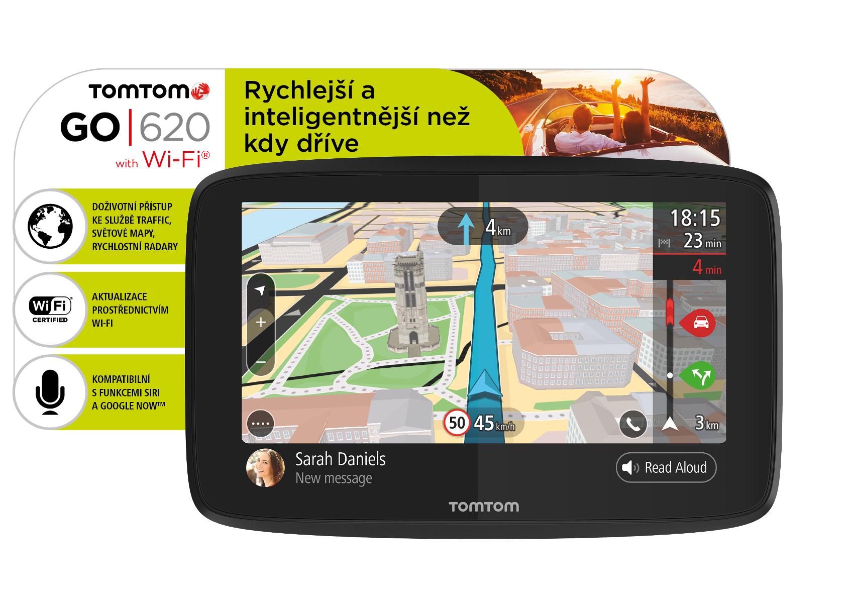 TomTom GO 620 World, Wi-Fi, LIFETIME mapy