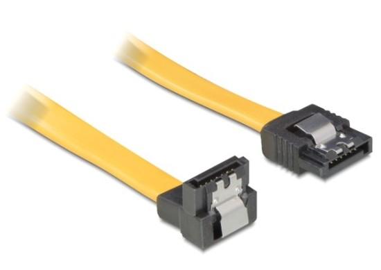 Delock Serial ATA II 50 cm data kabel, kovové klipy, úhlový 90°, žlutý