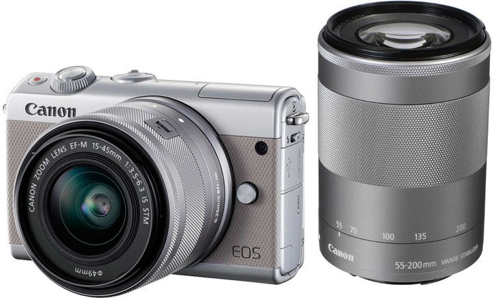 Canon EOS M100 Grey + EF-M 15-45mm f/3.5-6.3 IS STM + EF-M 55-200mm f/4.5-6.3 IS STM