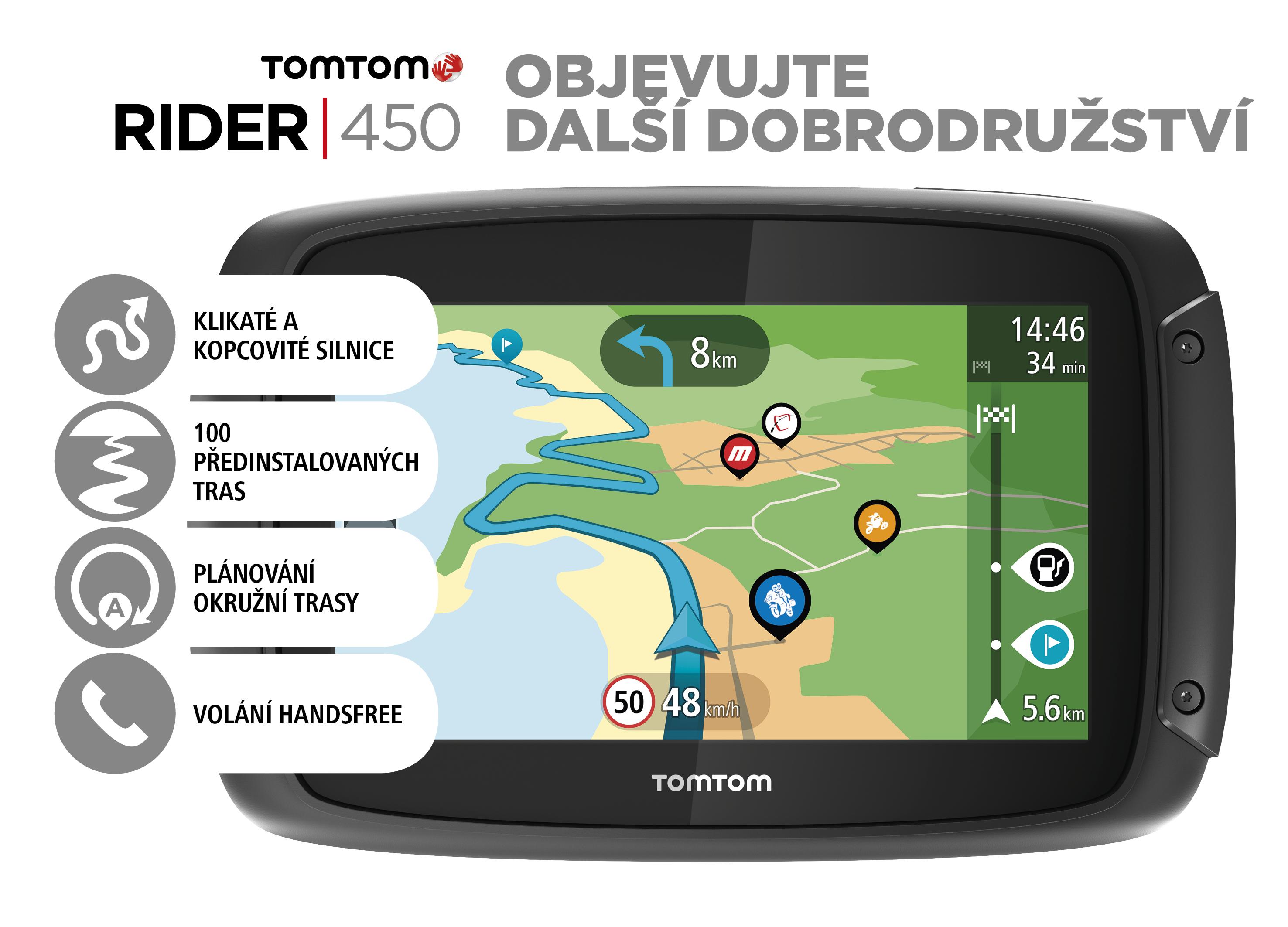 TomTom Rider 450 World pro motocykly, LIFETIME mapy