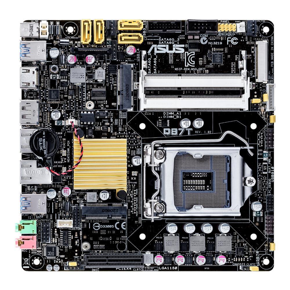ASUS Q87T, Q87, DualDDR3-1600, SATA 3, RAID, HDMI, DP, mITX