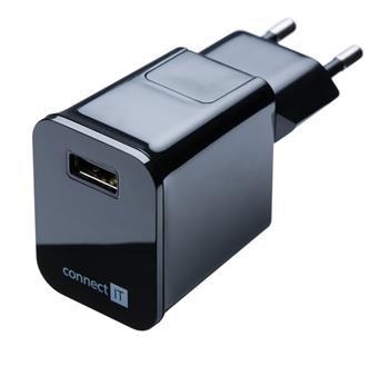 CONNECT IT nabíjecí adaptér s USB portem 2.1 A černý