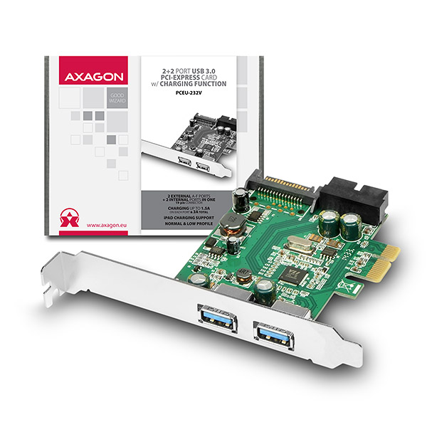 AXAGON PCEU-232V, PCIe adapter 2+2x USB3.0, UASP, nabíjení 3A, VIA + LP