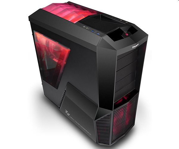 Zalman case miditower Z11 PLUS HF1, mATX/ATX, bez zdroje, USB3.0, červeno-černá