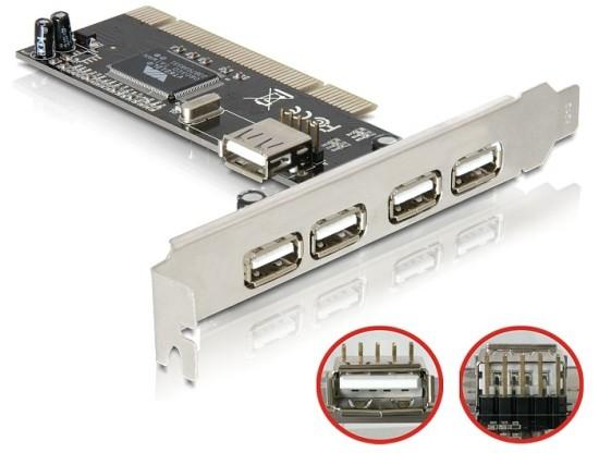 Delock USB 2.0 4+1 port, interní pro PCI