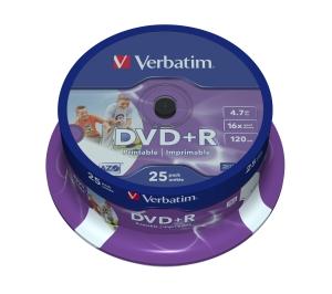 VERBATIM DVD+R(25-Pack)InkjetPrintable/Spindle/16x/4.7GB