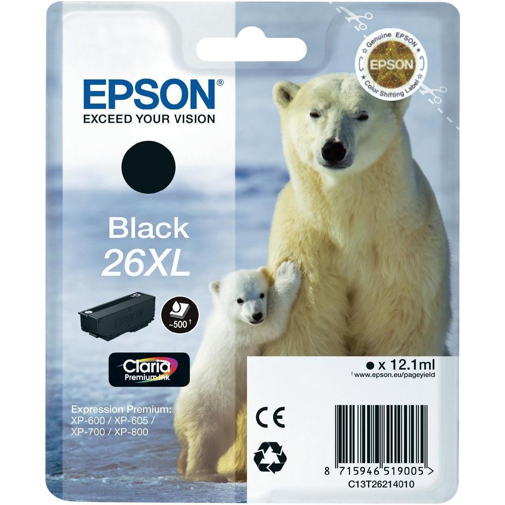 EPSON cartridge T2621 black (lední medvěd) XL